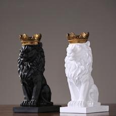 decoration, lionstatue, officedecoration, crown