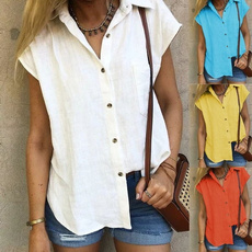 Turn-down Collar, Summer, Loose, womens top