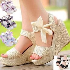 wedge, Sandalias, Womens Shoes, bowknot