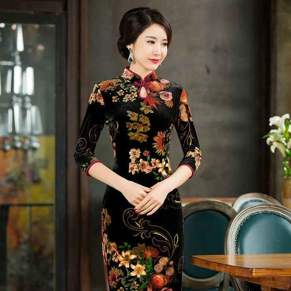 chinesetraditionalcostume, velvet, Vintage Dresses, Chinese