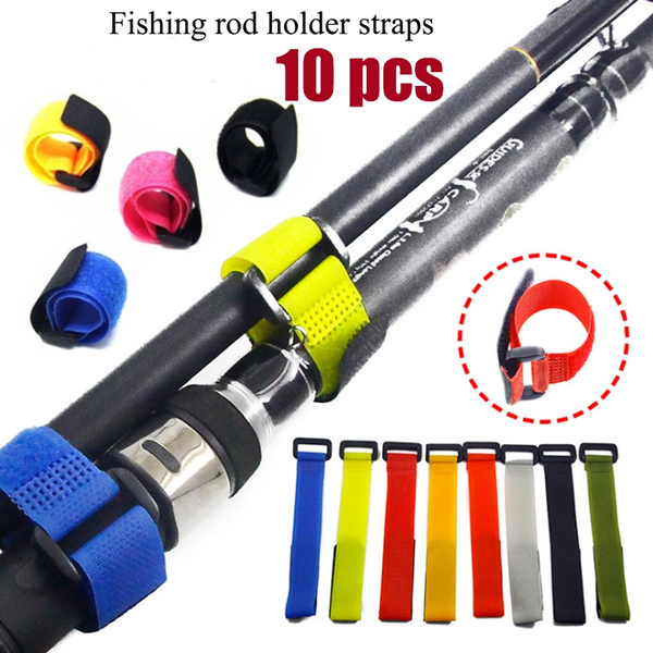 Fishing Rod Holder Straps 10pcs Reusable Tie Suspenders Fastener Hook Loop Cable