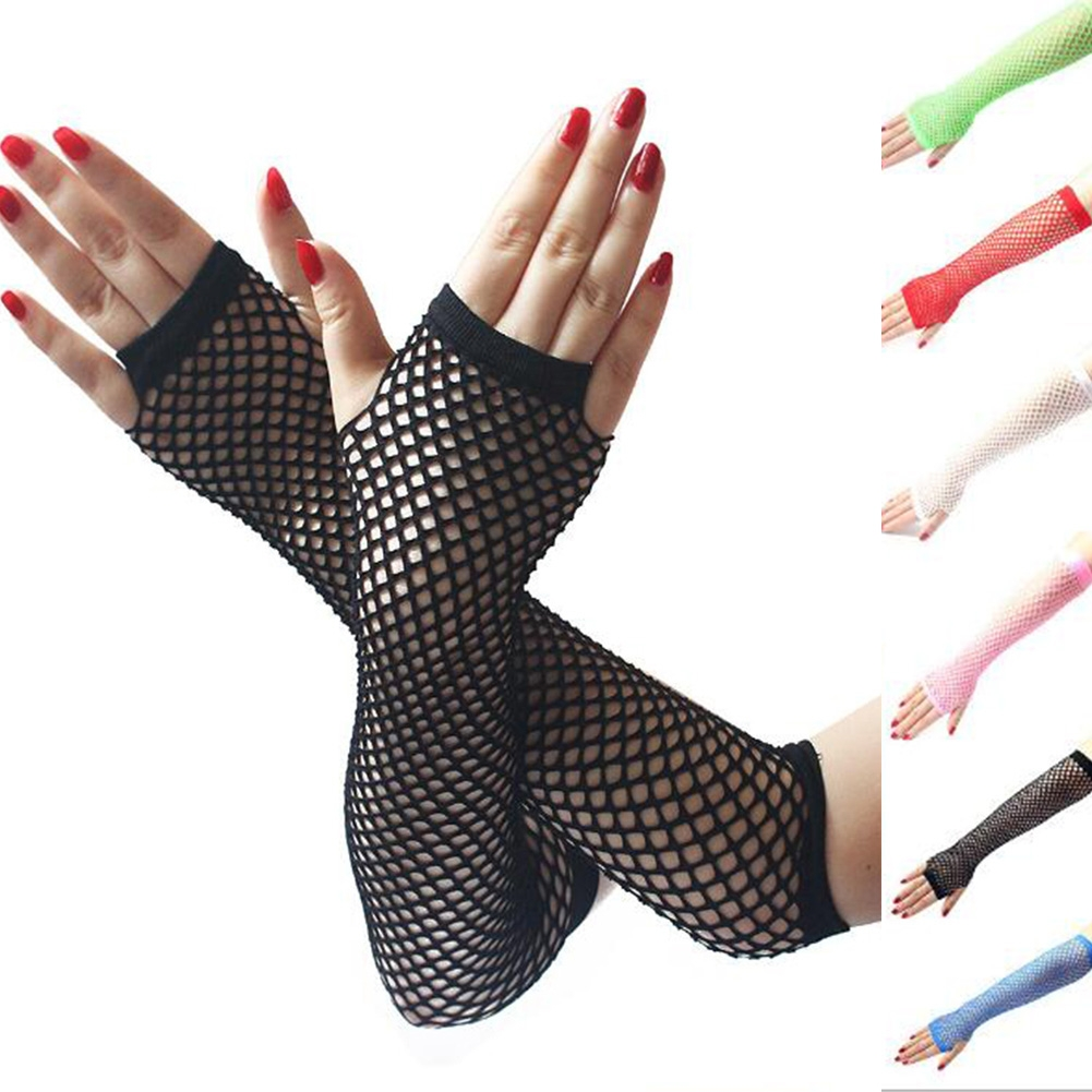CHIDY Womens Gloves Wrist Ladies Summer UV-Proof Wedding Bridal Evening Party Dress Mesh Fishnet UV-Proof Lace High Elastic Mittens Gloves Costume