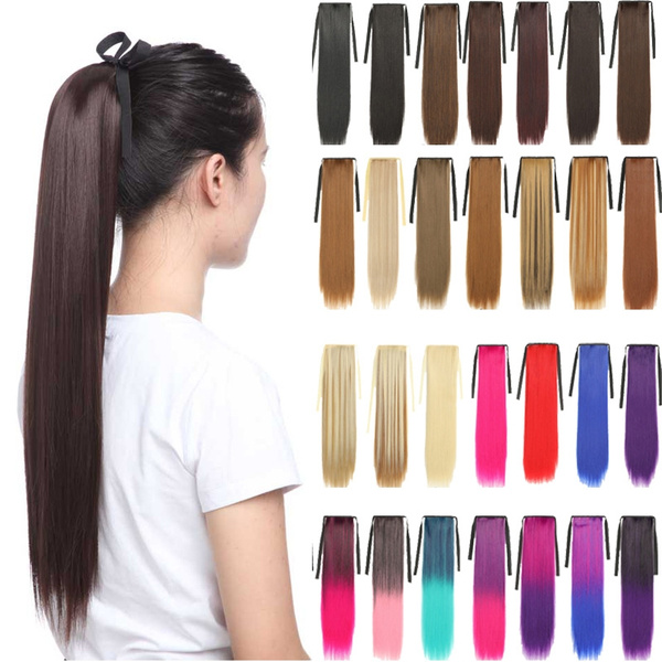Hairpieces, clip in hair extensions, Straight Hair, ombreponytail
