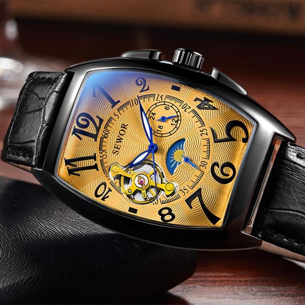 automaticmechanicalwatch, Jewelry, blackgoldwatche, leather strap