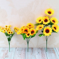 artificialsunflower, 7headsplasticsunflower, realtouchflower, Sunflowers