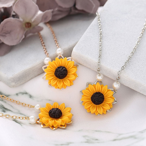 goldplated, Chain Necklace, Romantic, Sunflowers