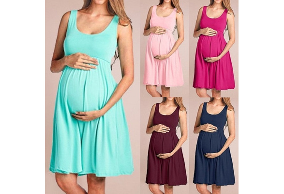 RYGHEWE Women/'s Summer Casual Striped Maternity Dress Sleeveless Knee Length Pregnancy Clothes