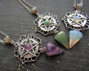 Jewelry, wicca, bohemiannecklace, purple