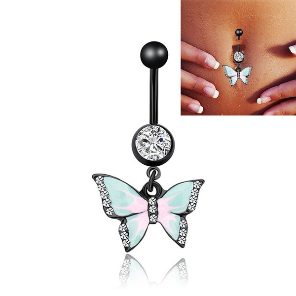 Belly button jewelry butterfly