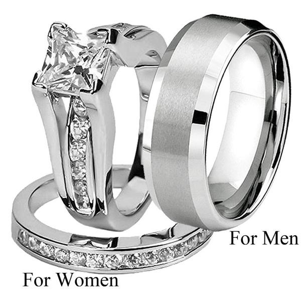 Couple Rings, engagementringset, Fashion, Princess