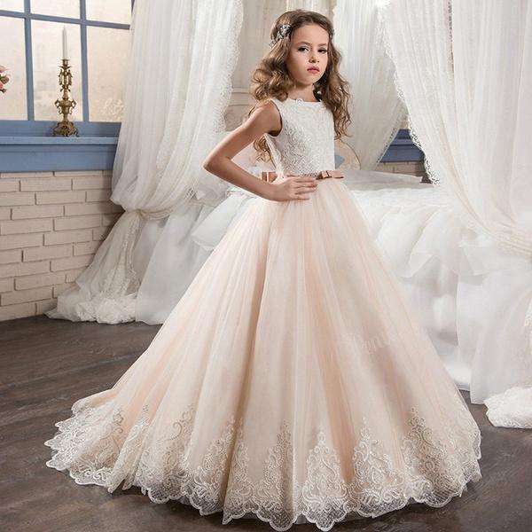 2019 Vintage Flower Girl Dresses For Weddings Blush Pink  Princess Lace Bow Kids