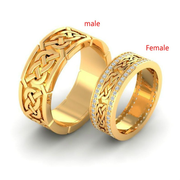 Couple Rings Men S And Women S Modern Italian 18k Yellow Gold Filled Diamonds Engagement Rings Bridal Wedding Jewelry Wish