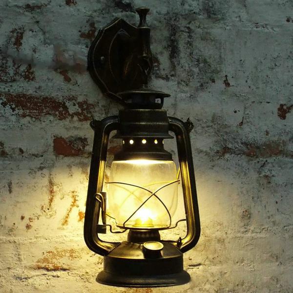 Rustic Antique Industrial Vintage Retro Lantern Wall Lamp Sconce Light    L R