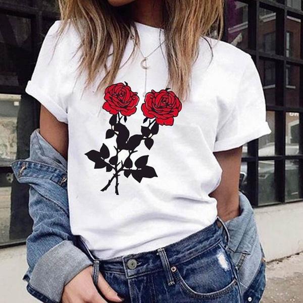 Summer, roseprint, Shirt, Sleeve