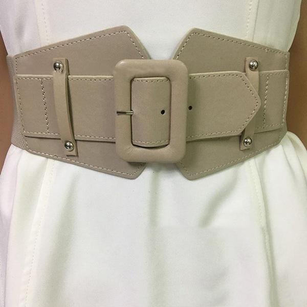 Fashion Women Wide Elastic Belts Buckle Waist Lady Dress Stretch Waistband Solid