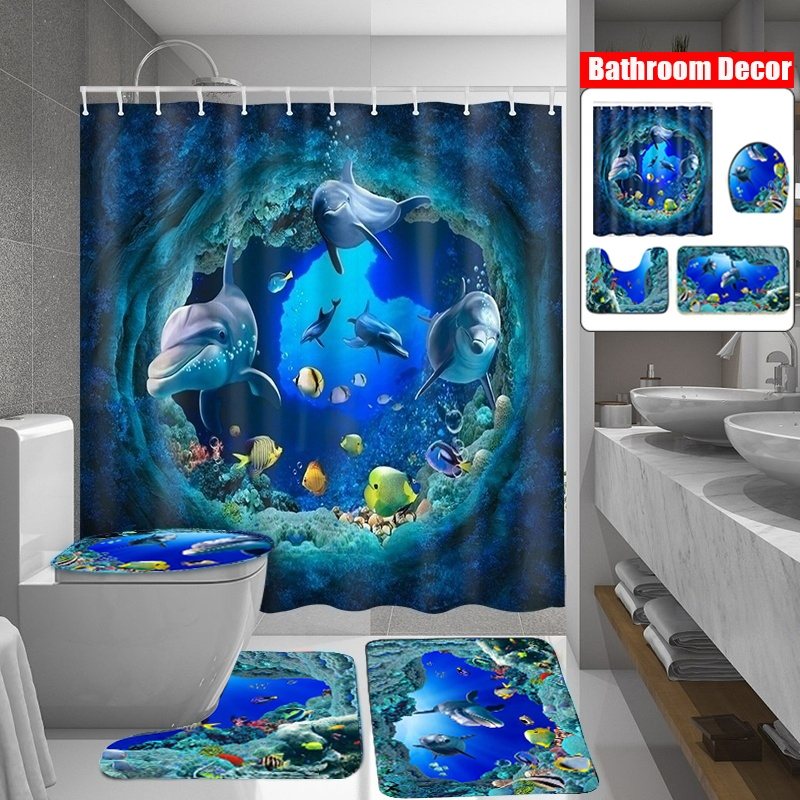 Blue Ocean Sea Wave Mahi Mahi Dolphin Fish Shower Curtain Set Waterproof Fabric