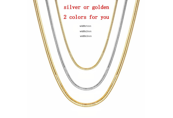 Hot 1mm 2mm 3mm Snake Chain Necklaces 18k Gold Plated Or 925 Sterling Silver Snake Chain Necklace 16 30 Wish