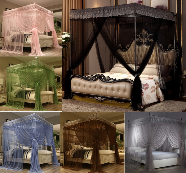 Four Corner Bed Canopy Curtain, Queen Size Canopy Bed With Curtains