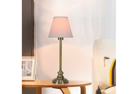 HAITRAL Table bedside Lamp Set of 2-Antique Bronze Metal Lamp Base Fabric Shade