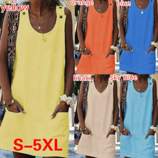 Summer, Loose, vest dress, Tops
