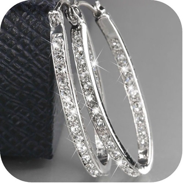 Sterling, DIAMOND, Sterling Silver Earrings, wedding earrings