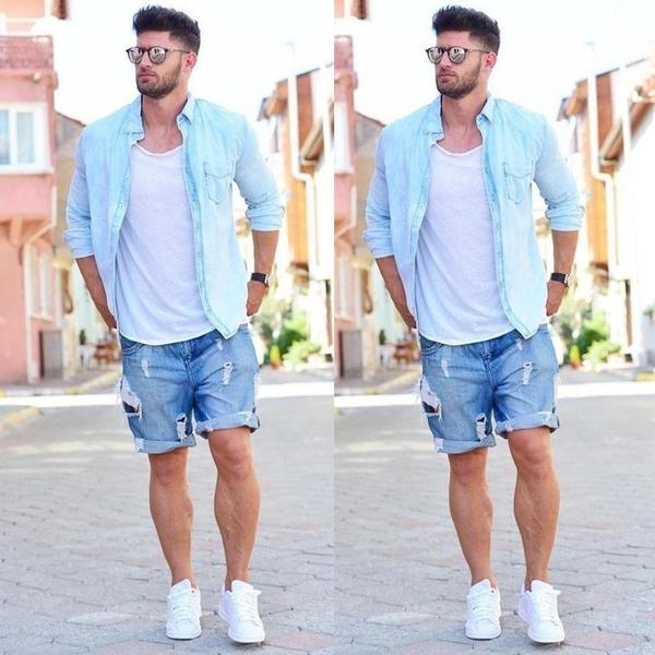 Summer, ripped, Shorts, Fashion Men