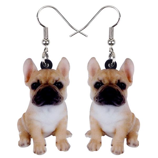 Custom Black Cream Frenchie Face Photo Picture Dangle Button Earrings for Girls Women Dog Lover Gifts Memorial FRENCH BULLDOG EARRINGS