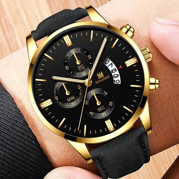 Outdoor, business watch, leather strap, menssportswatch