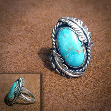 Sterling, Turquoise, Engagement, 925 silver rings