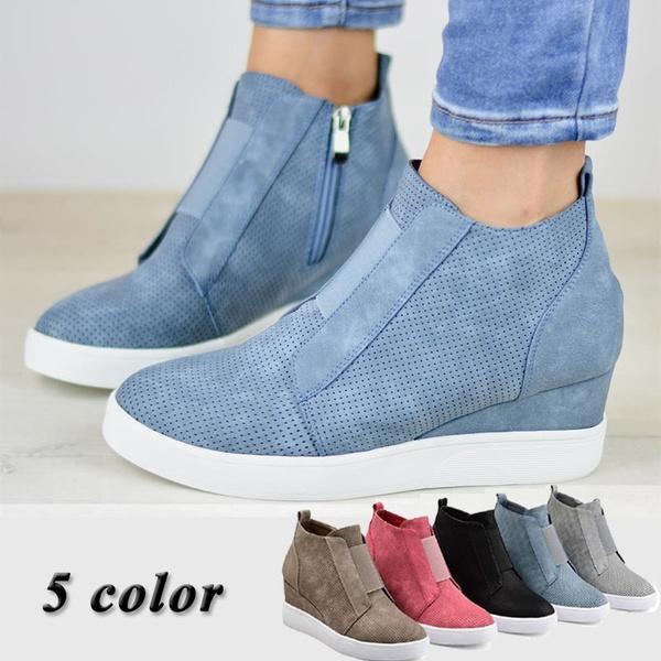 Comfort Zipper Wedge Sneakers Plus Size