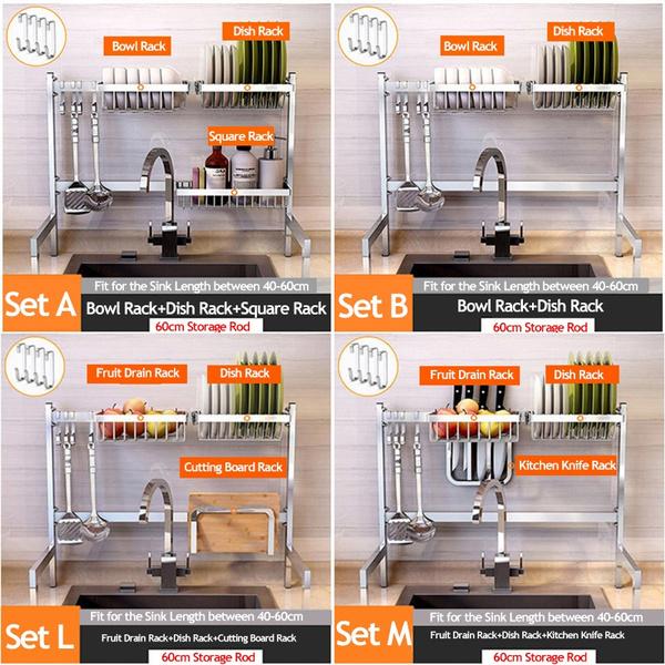 Stainless Steel Kitchen Sink Drying Rack Foldable Household Storage Holder Dish Drain Rack Tableware Shelf Organizer Set Wish