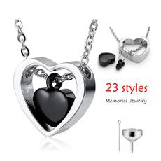 Heart, Personalized necklace, asheskeepsake, doubleheartpendant