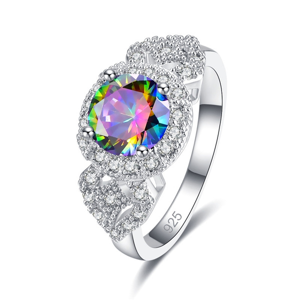 rainbow, quartz, Jewelry, 925 silver rings