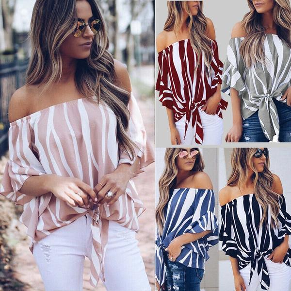 blouse, Summer, off shoulder top, summer t-shirts
