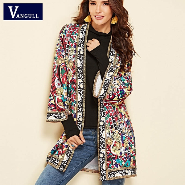 Fashion, Floral print, Spring/Autumn, Long Coat