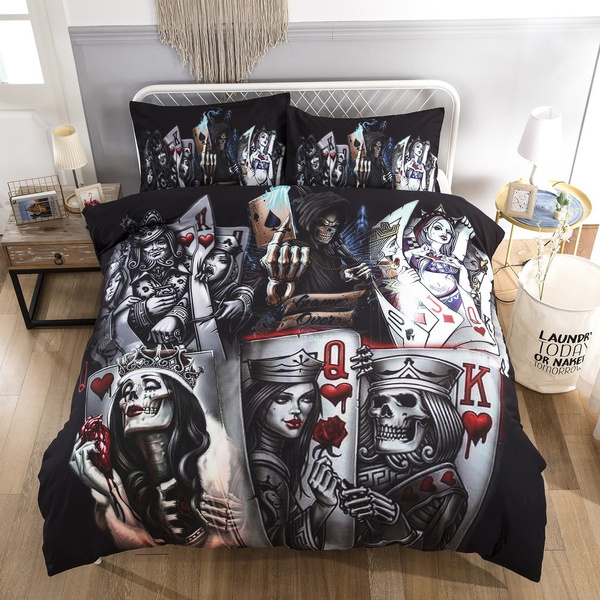 3d Skull Bedding Set Queen Playing, King And Queen Skull Bedding