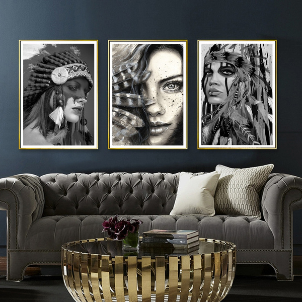 3pcs Set Abstract Native American Indian Girl Figure Painting Modern Nordic Style Black And White Art Oil Painting On Canvas For Home Decor Wish
