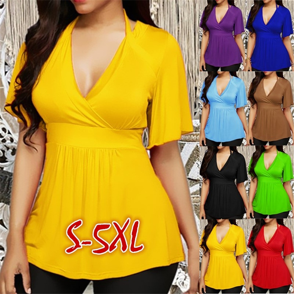 Deep V-Neck, Tops & Tees, Plus Size, Tops & Blouses
