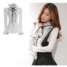 blouse, collar slim, Fashion, ruffle