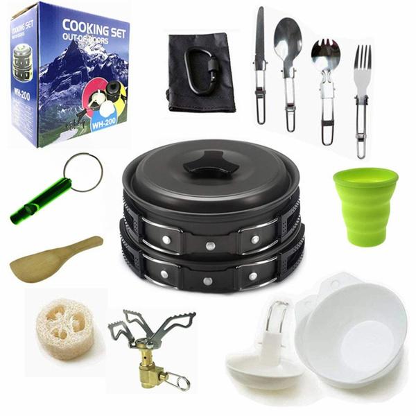 potpancookwarestovecarabinersporkknifespoon, outdoorcampingequipmentcookingset, Hiking, camping