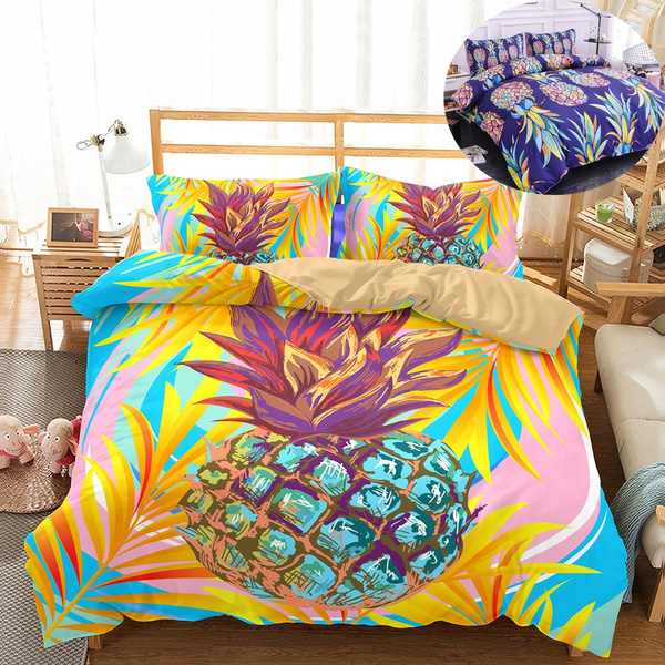3d Oil Painting Pineapple Bedding Sets, Pineapple Bedding Set