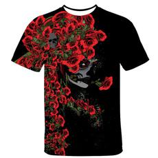 mensflowerskulltshirt, mensblackshortsleeve, Flowers, Necks