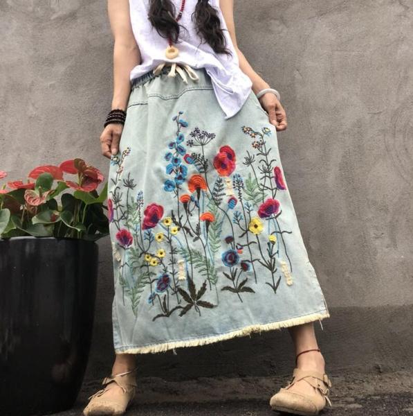 Summer, elastic waist, Cotton, womendenimskirt