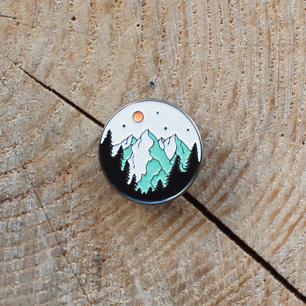 Mountain, brooches, Pins, Brooch Pin
