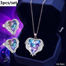 Heart, Angel, angelwingsnecklace, Rhinestone