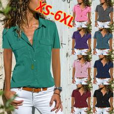 Turn-down Collar, Summer, summer t-shirts, womens top