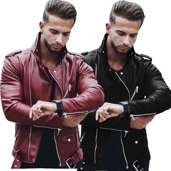 motorcyclejacket, men coat, Fashion, leather