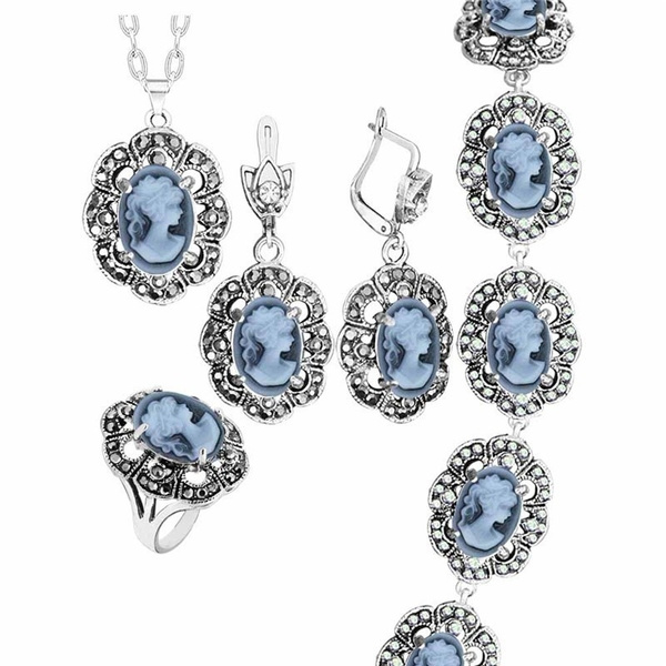 Fashion, Cameo, Jewelry, ladyqueencameojewelryset