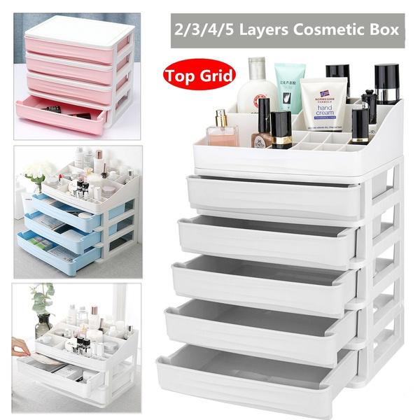 2//3//4 Layers Desktop Drawer Desk Tidy Makeup Jewelry Box Storage Craft Organizer