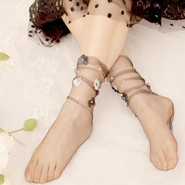 Flowers, Socks, Handmade, pearls